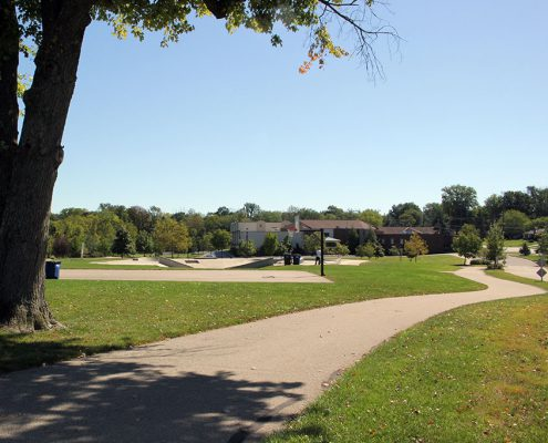 Beech Acres Park basketball court and trail