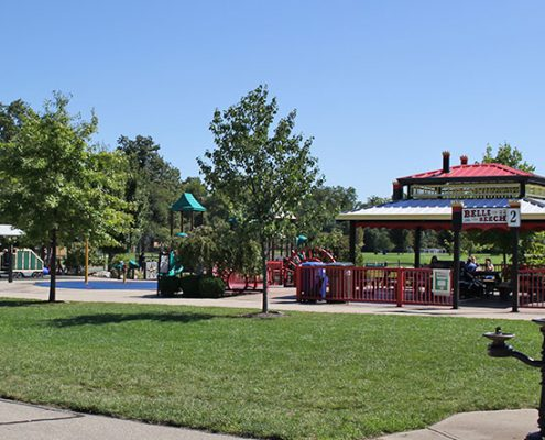 Beech Acres Park all-children's playground, water play and riverboat shelter