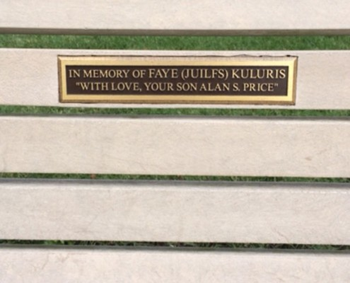 Lasting gifts: bench with engraved plaque
