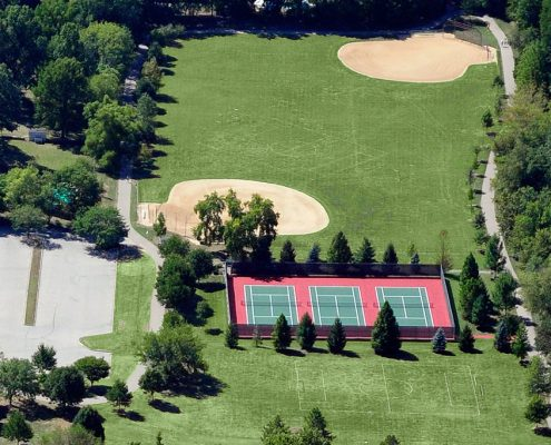 Juilfs Park aerial of tennis courts and ball diamonds