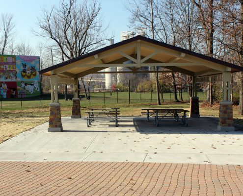 Kellogg Park shelter in front of Dog Field