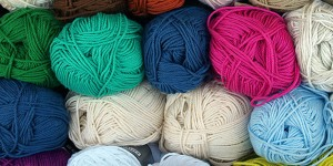 variety of colorful yarn