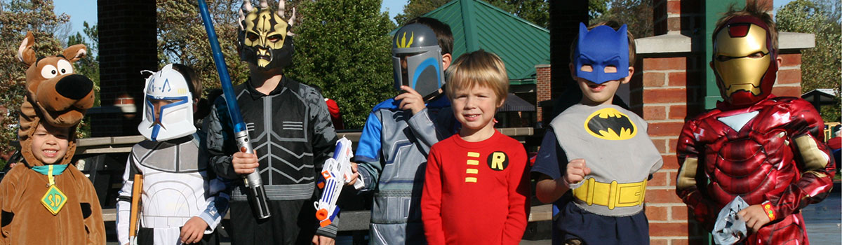 kids in costumes at Trunk 'R Treat Fall Festival