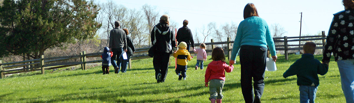 Group of parents and toddlers on a walk to explore Johnson Hills Park together