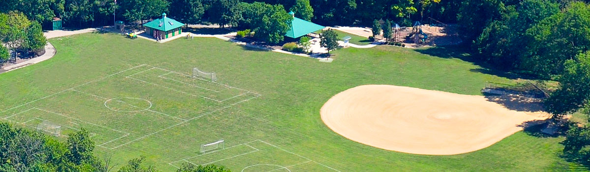 Veterans Park aerial of shelter, playground, fields, ball diamond and restrooms