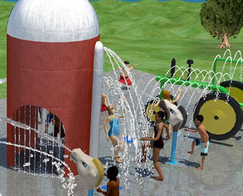 rendering of the new water play area at Juilfs Park