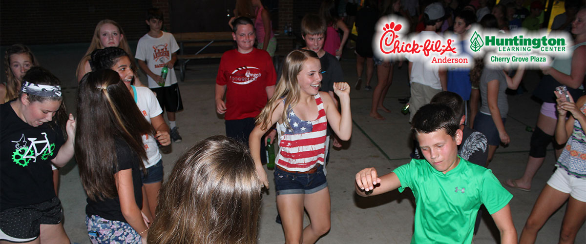 jr high park parties with sponsor logos chick-fil-a and huntington learning center cherry grove