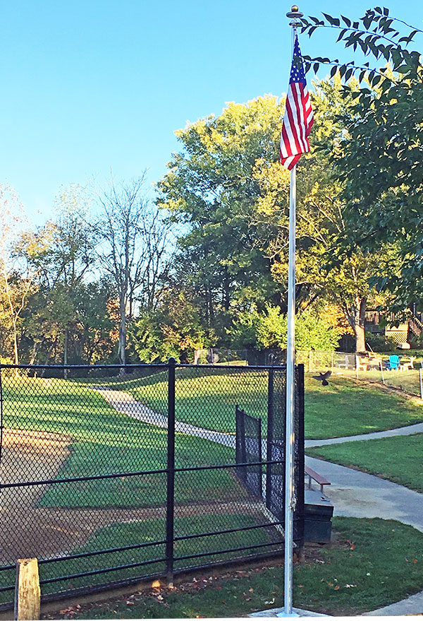 flagpole was installed by eagle scout volunteer at Laverty Park