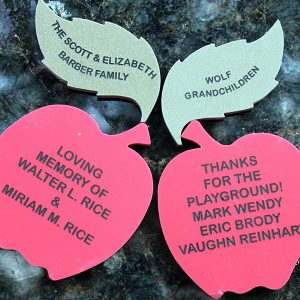Apple of Your Eye tribute engraved tree leaves and apples