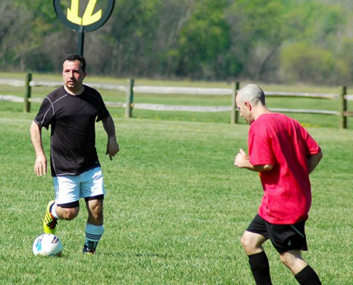 men playing soccer at Clear Creek Park Fields