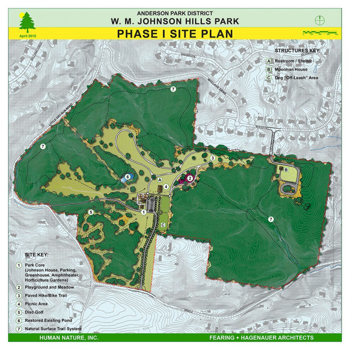 Johnson Hills Park Site Plan Phase 1 includes off-leash dog area, restrooms and shelter, playground, paved trails, picnic areas, disc golf, natural trails, and restored existing pond