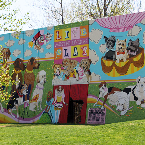 Artworks mural at the Kellogg Park Dog Field