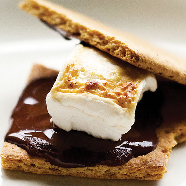 s'mores - melted marshmallow and chocolate between two graham crackers.