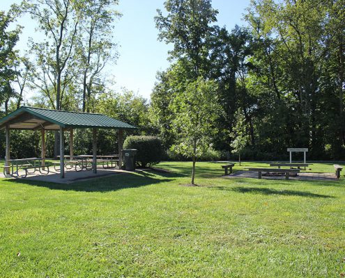 Veterans Park shelter and fire pit, permit required for use