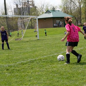 Girls playing soccer at Kellogg Park fields