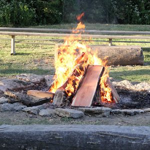 Roaring camp fire at Johnson Hills Park. Must have a permit to use fire pit