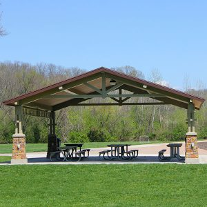 Kellogg Park Shelter includes 6 tables and can seat 60 people.