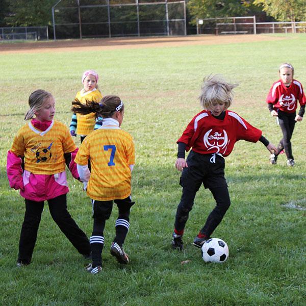 girls playing soccer at Juilfs Park