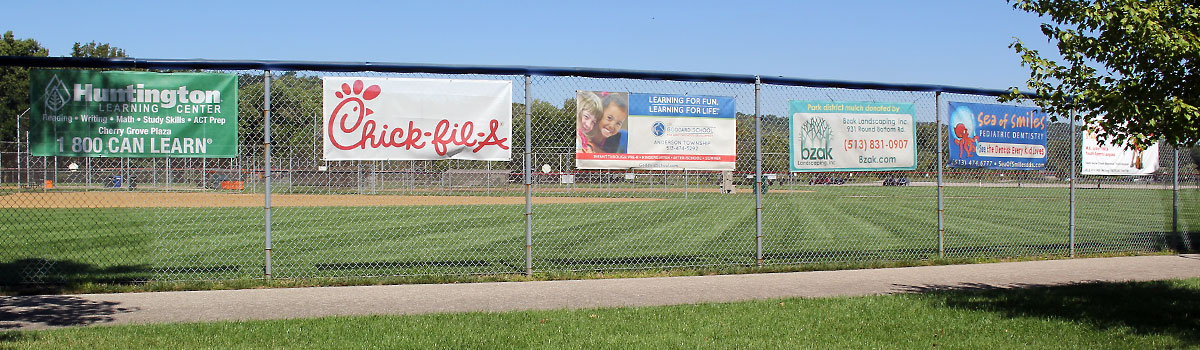banners on outfield fence at Riverside park