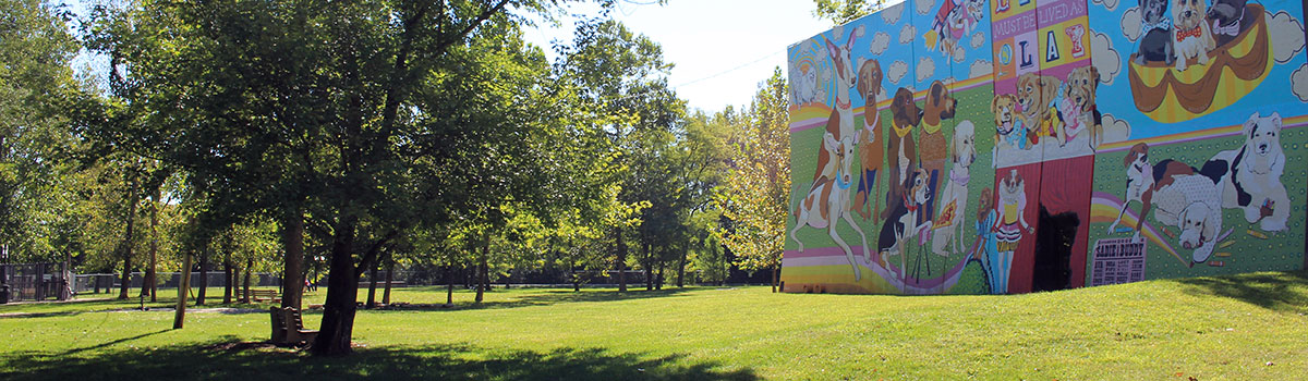 Kellogg Park Dog Field and artworks mural