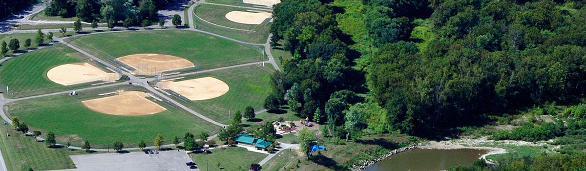 Riverside Park aerial of ball diamonds, riverbank, park