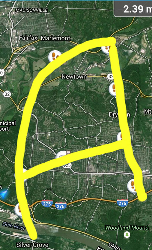 park district geotrail makes the shape of an A