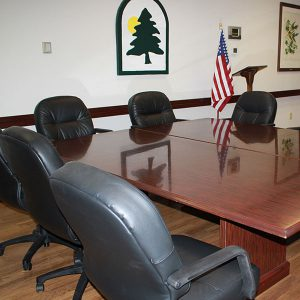 Executive chairs and table of park district board room at juilfs park