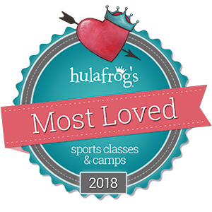 Hulafrog Most Loved award badge for sports classes and camps