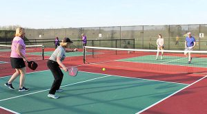 pickleball doubles league consists of men's, women's and mixed couples. played at clear creek pickleball courts