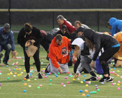 participants at the annual adult egg hunt at riverside park. featured three different hunts for ages 18 & up.