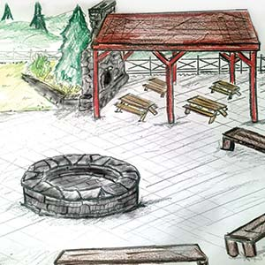shelter view of concept of outdoor classroom at johnson hills