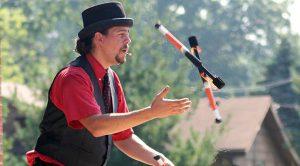 cincinnati circus company juggling and magic show at shazaam series