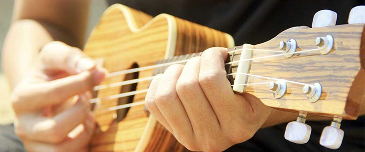 hands holding a ukulele