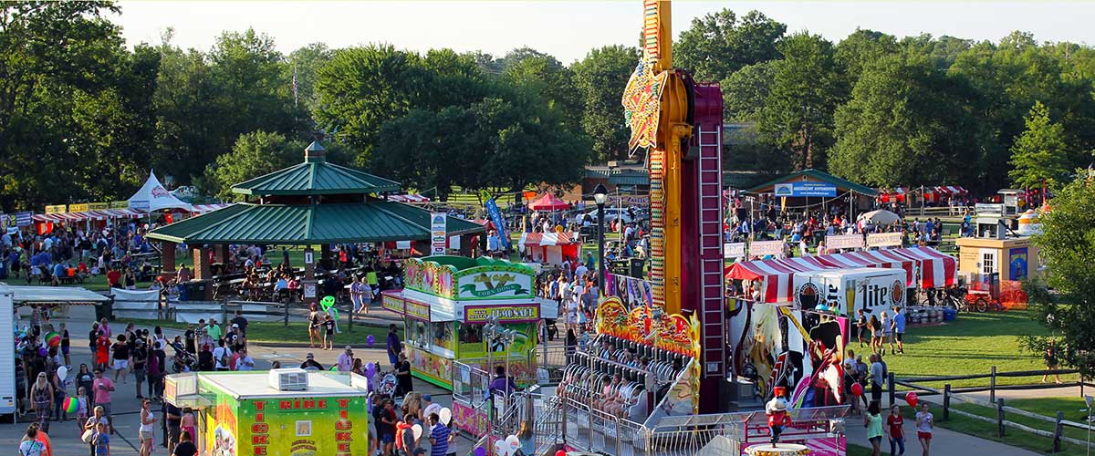 aerial view of community festival