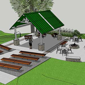 photo concept of outdoor classroom with benches facing a covered shelter