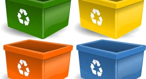 four recycling bins in different colors
