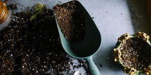 garden spade full of soil